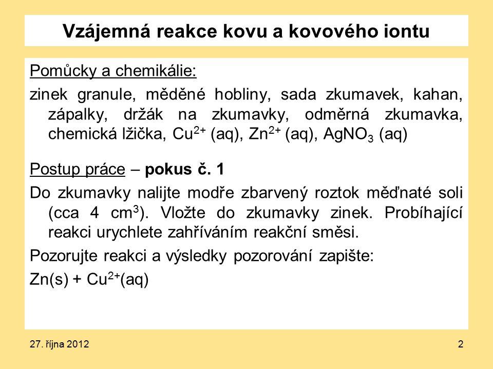 Vzájemná reakce kovu a kovového iontu