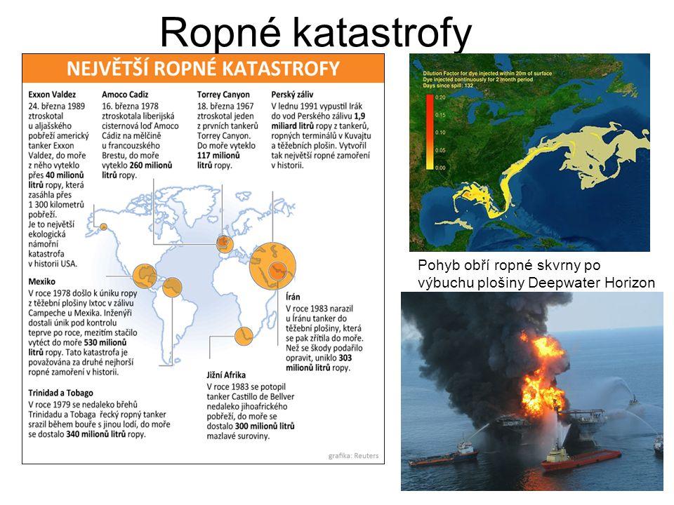 Ropné katastrofy Pohyb obří ropné skvrny po výbuchu plošiny Deepwater Horizon