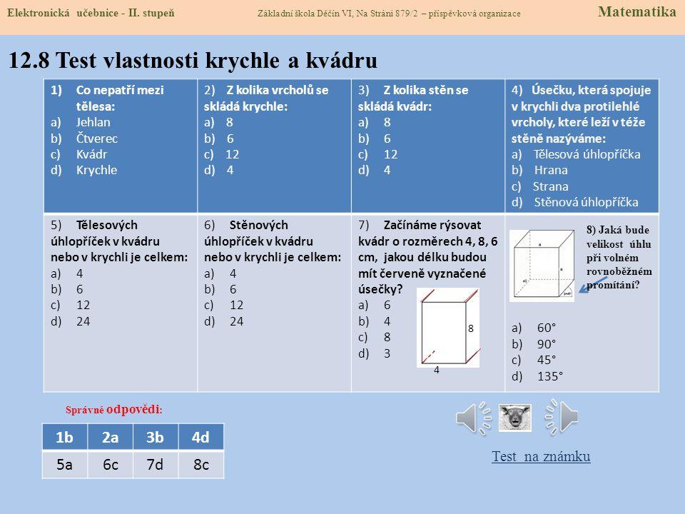12.8 Test vlastnosti krychle a kvádru