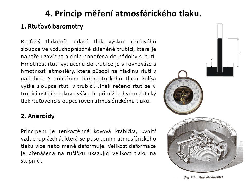 4. Princip měření atmosférického tlaku.