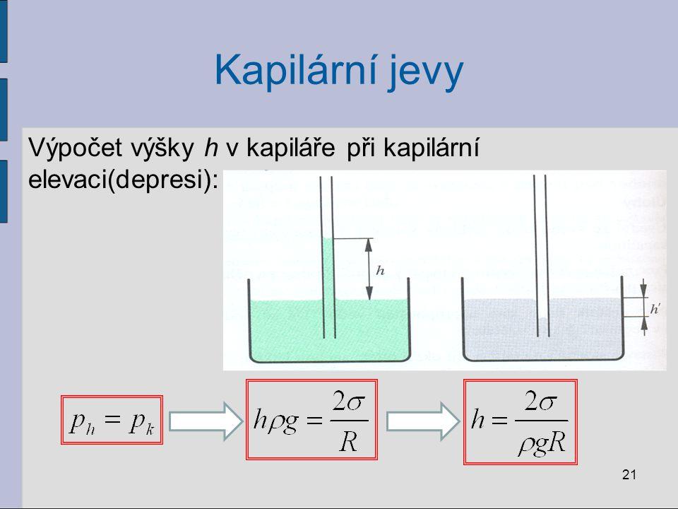 Kapilární jevy Výpočet výšky h v kapiláře při kapilární elevaci(depresi):