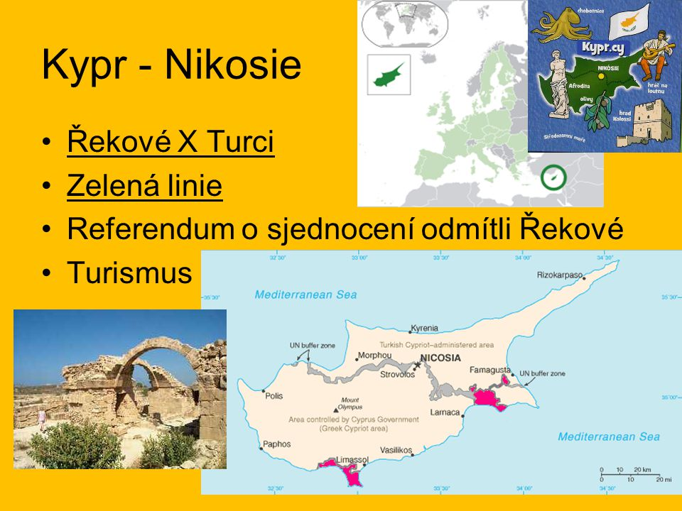 Kypr - Nikosie Řekové X Turci Zelená linie