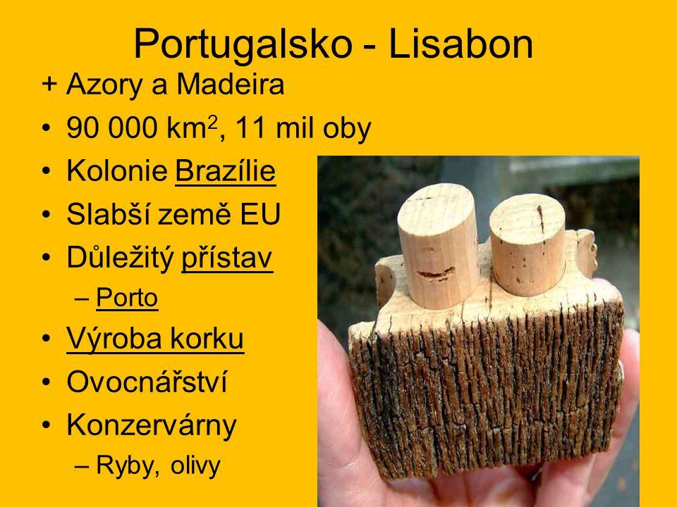 Portugalsko - Lisabon + Azory a Madeira 90 000 km2, 11 mil oby