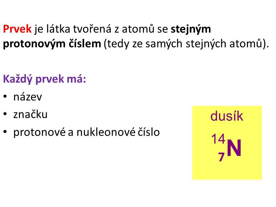 Prvek je látka tvořená z atomů se stejným protonovým číslem (tedy ze samých stejných atomů).