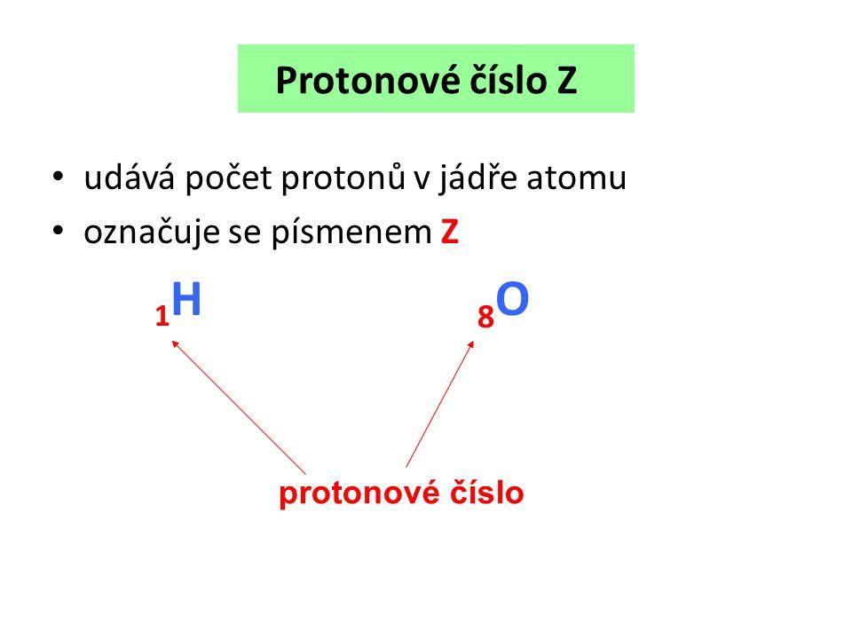 Protonové číslo Z udává počet protonů v jádře atomu