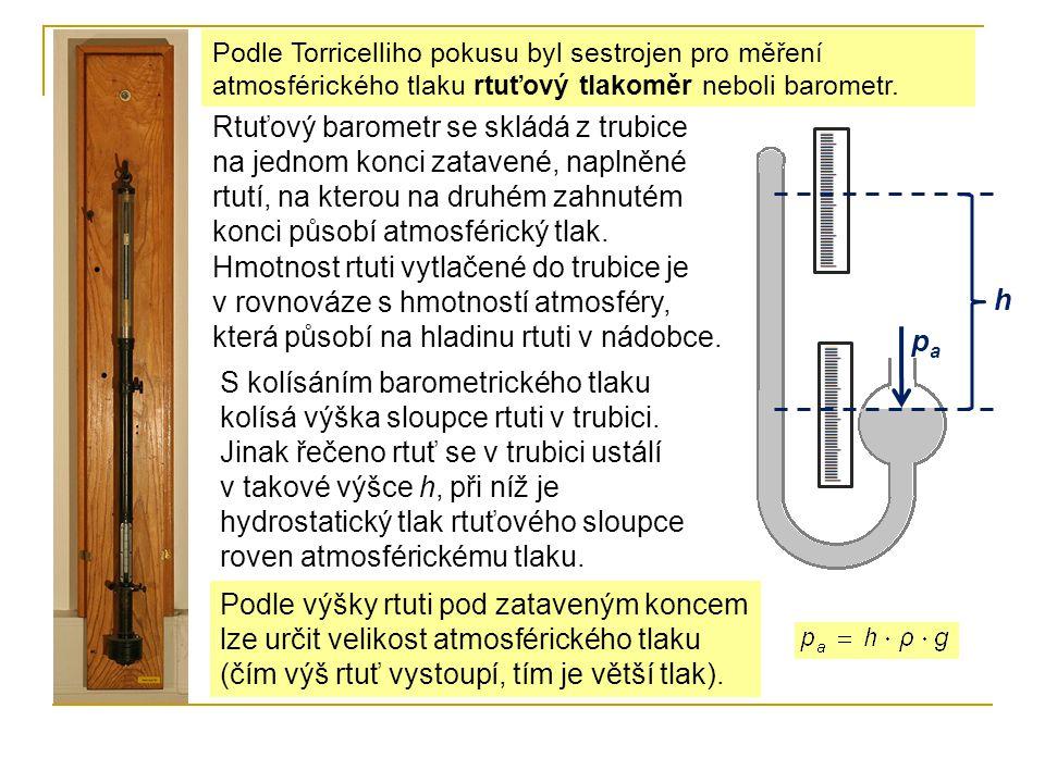 Podle Torricelliho pokusu byl sestrojen pro měření atmosférického tlaku rtuťový tlakoměr neboli barometr.