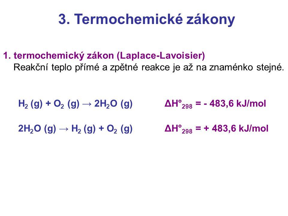 3. Termochemické zákony termochemický zákon (Laplace-Lavoisier)