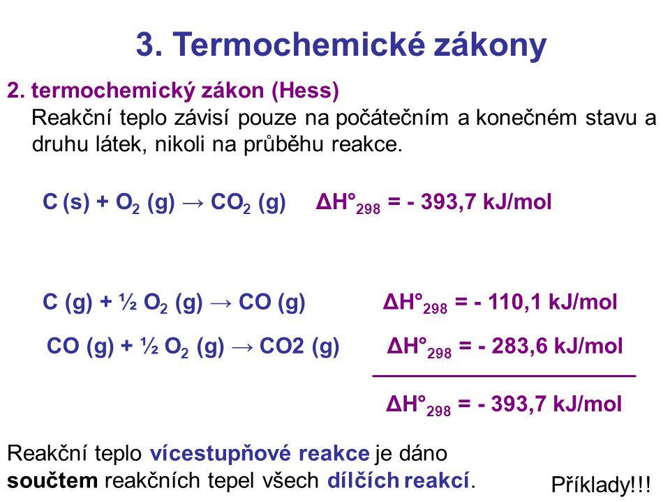 3. Termochemické zákony 2. termochemický zákon (Hess)