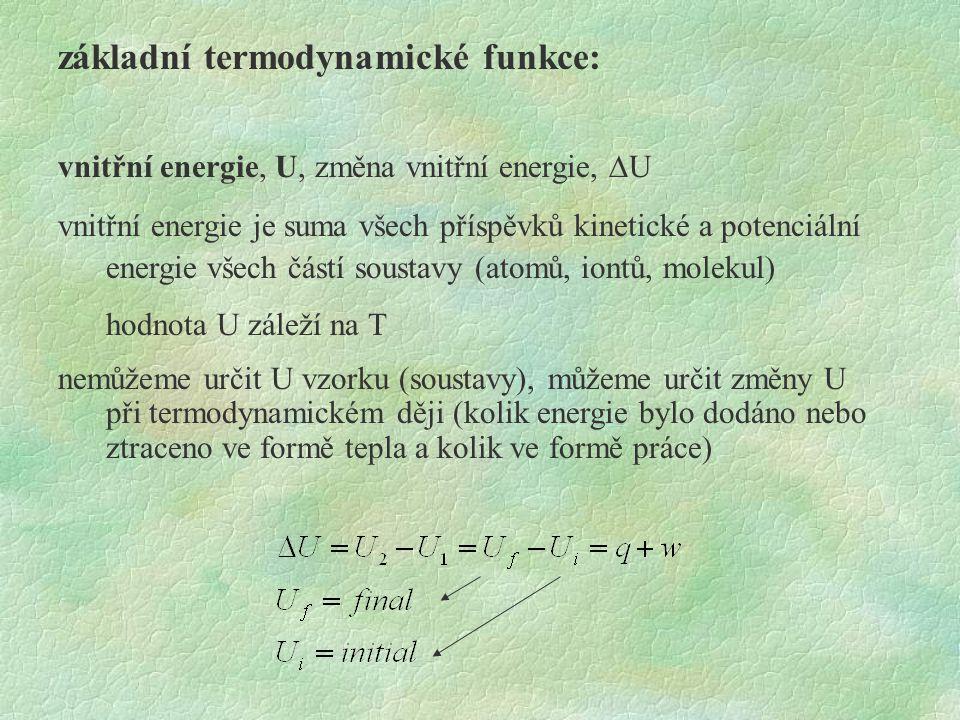 základní termodynamické funkce: