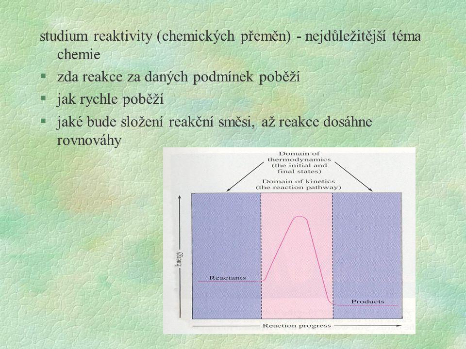 studium reaktivity (chemických přeměn) - nejdůležitější téma chemie