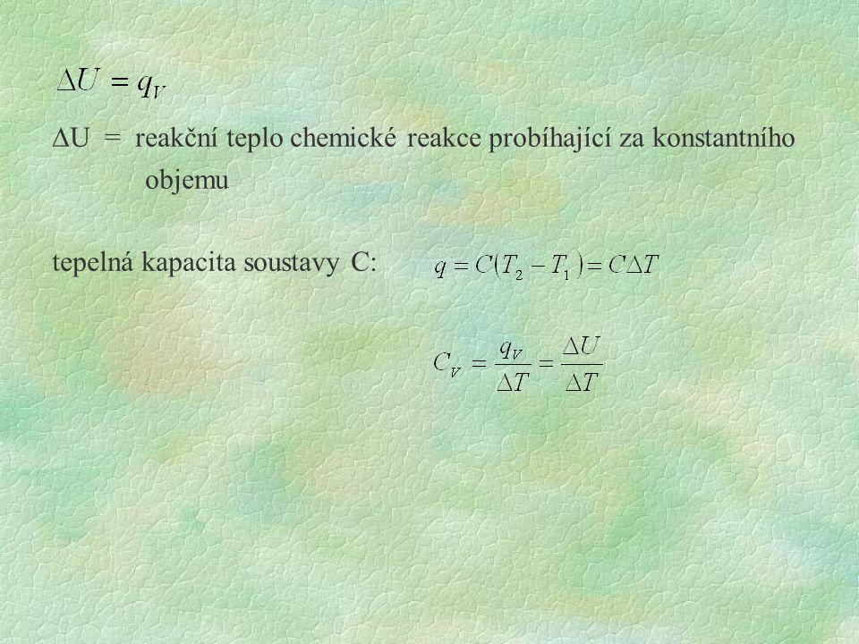 DU = reakční teplo chemické reakce probíhající za konstantního objemu