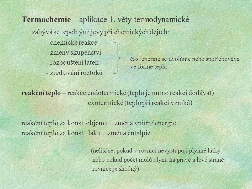 Termochemie – aplikace 1. věty termodynamické