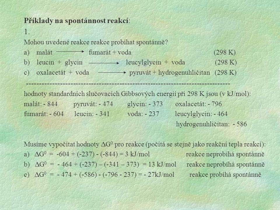 Příklady na spontánnost reakcí: 1.