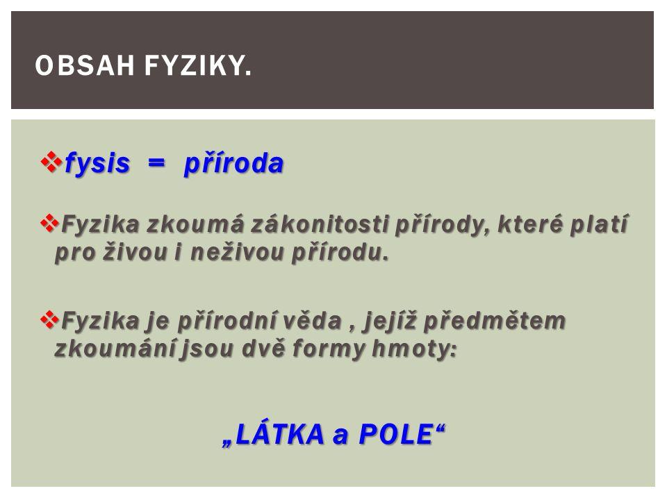 """Obsah fyziky. fysis = příroda """"LÁTKA a POLE"""