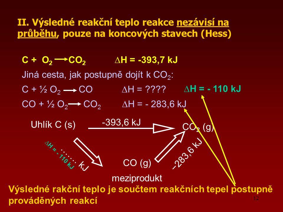 Jiná cesta, jak postupně dojít k CO2: C + ½ O2 CO ∆H =