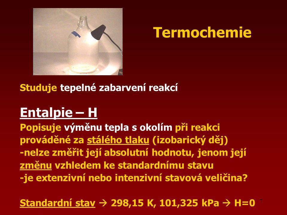 Termochemie Entalpie – H Studuje tepelné zabarvení reakcí