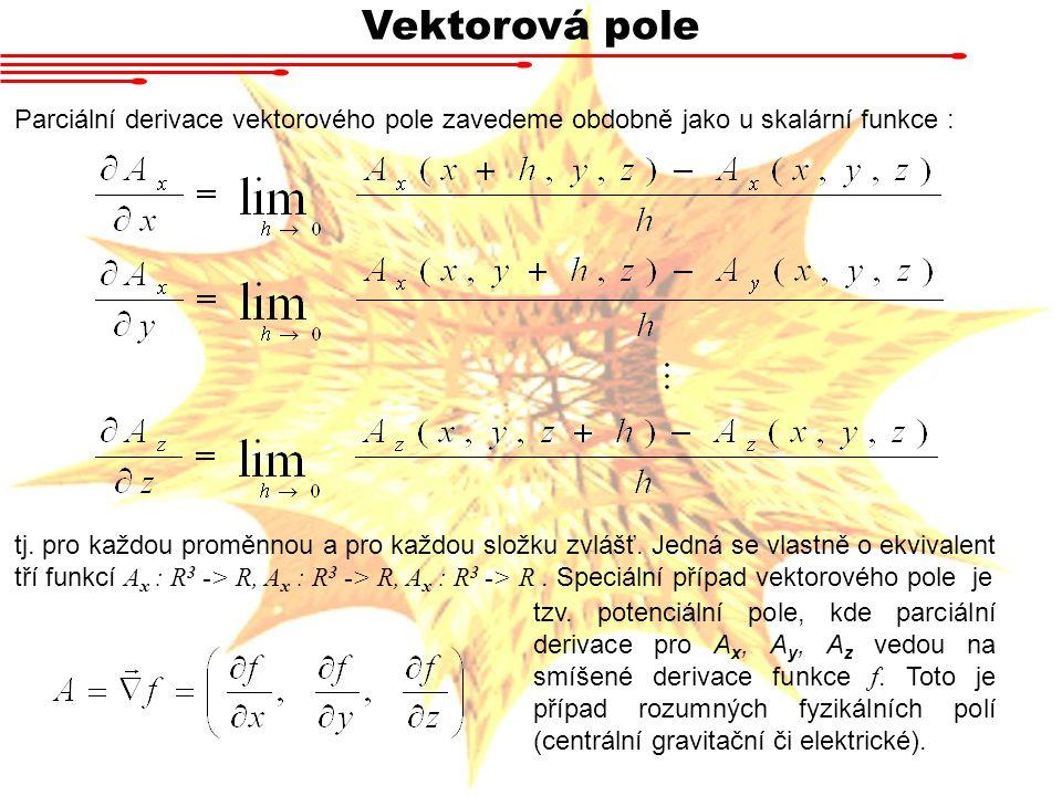 Vektorová pole Parciální derivace vektorového pole zavedeme obdobně jako u skalární funkce :