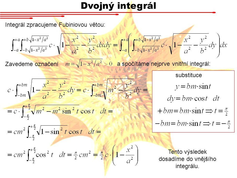 Tento výsledek dosadíme do vnějšího integrálu.