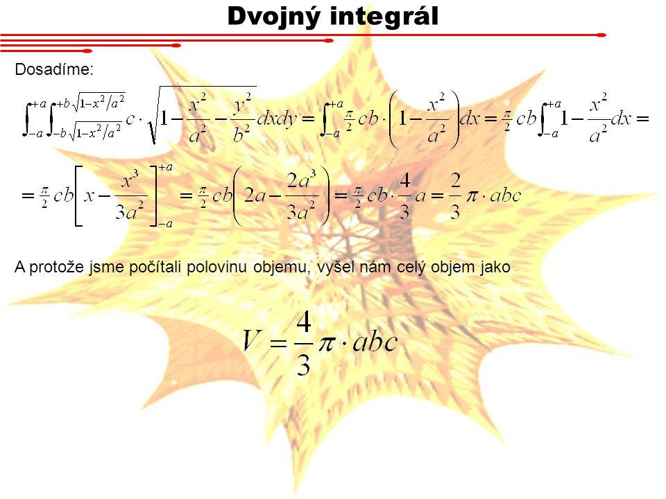 Dvojný integrál Dosadíme: