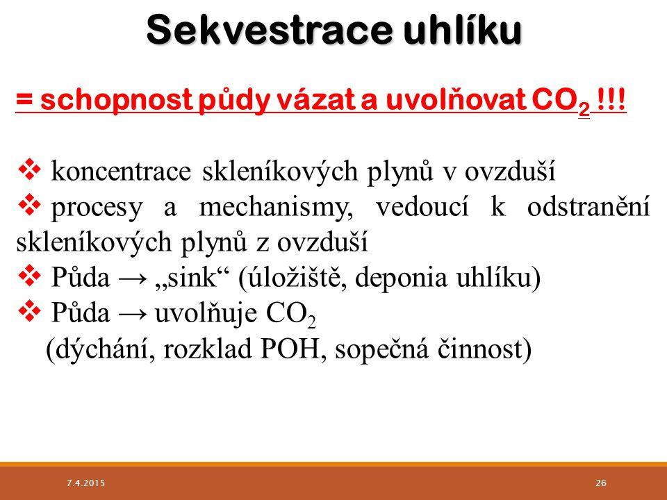 Sekvestrace uhlíku = schopnost půdy vázat a uvolňovat CO2 !!!