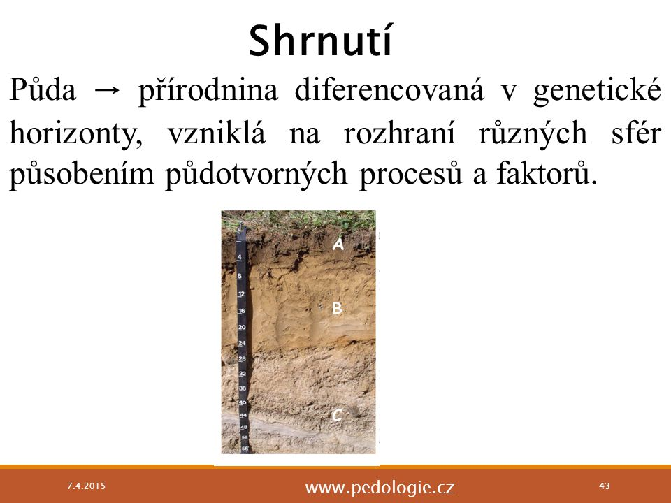 Shrnutí Půda → přírodnina diferencovaná v genetické horizonty, vzniklá na rozhraní různých sfér působením půdotvorných procesů a faktorů.