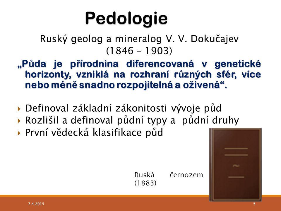 Ruský geolog a mineralog V. V. Dokučajev