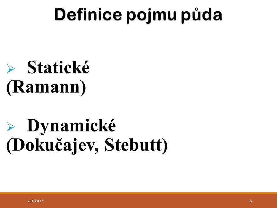 Statické (Ramann) Dynamické (Dokučajev, Stebutt) 9.4.2017