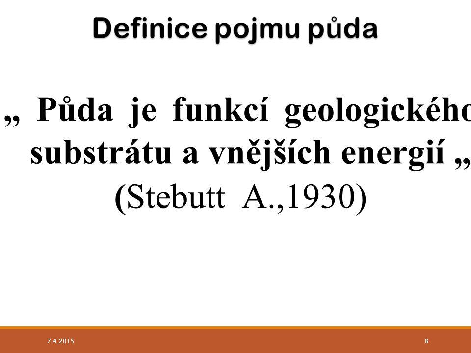 """"""" Půda je funkcí geologického substrátu a vnějších energií """""""