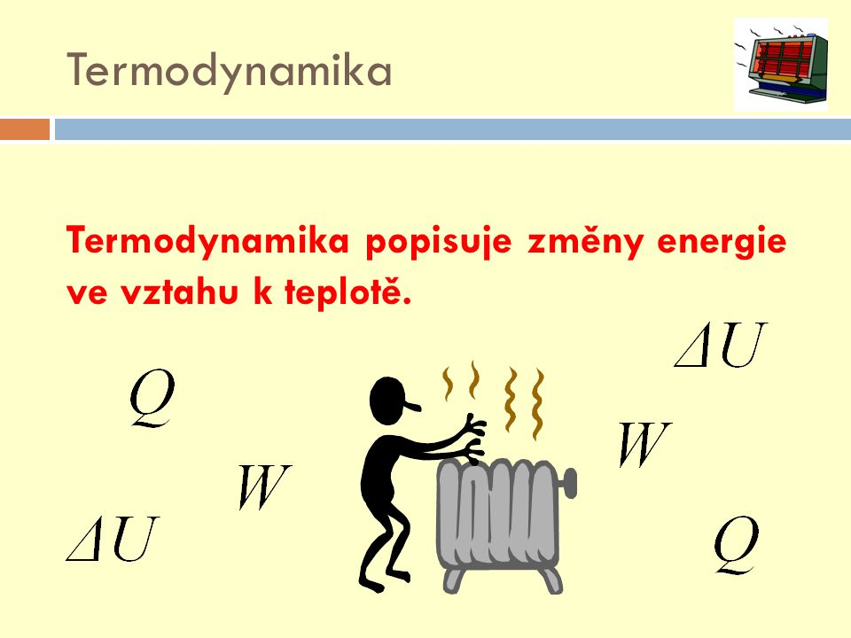 Termodynamika Termodynamika popisuje změny energie ve vztahu k teplotě.
