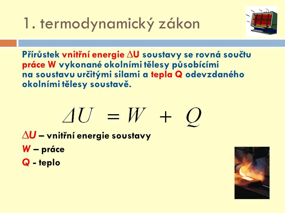 1. termodynamický zákon ∆U – vnitřní energie soustavy W – práce