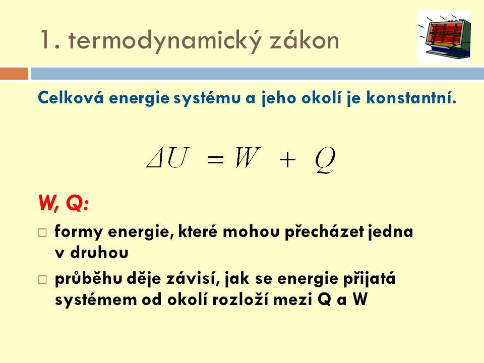 1. termodynamický zákon W, Q: