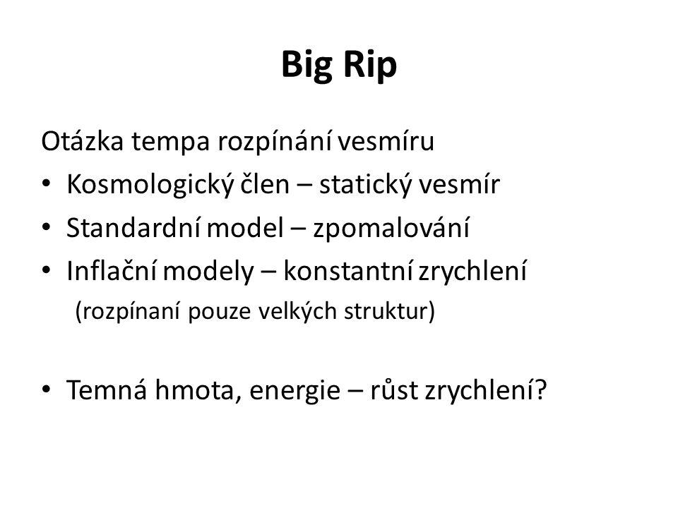 Big Rip Otázka tempa rozpínání vesmíru