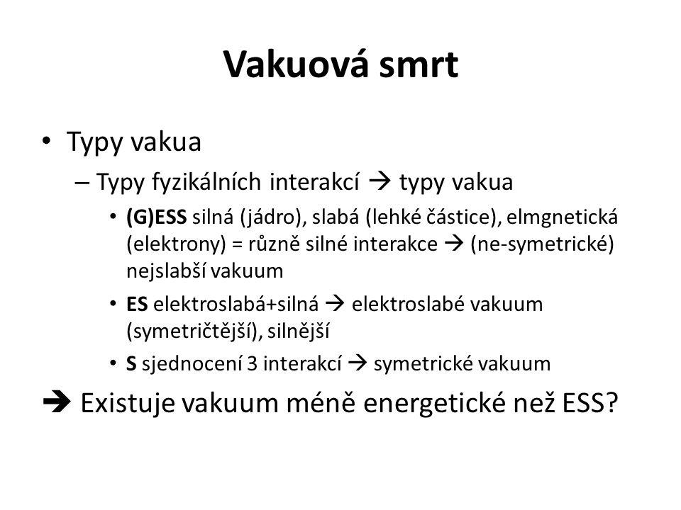 Vakuová smrt Typy vakua  Existuje vakuum méně energetické než ESS