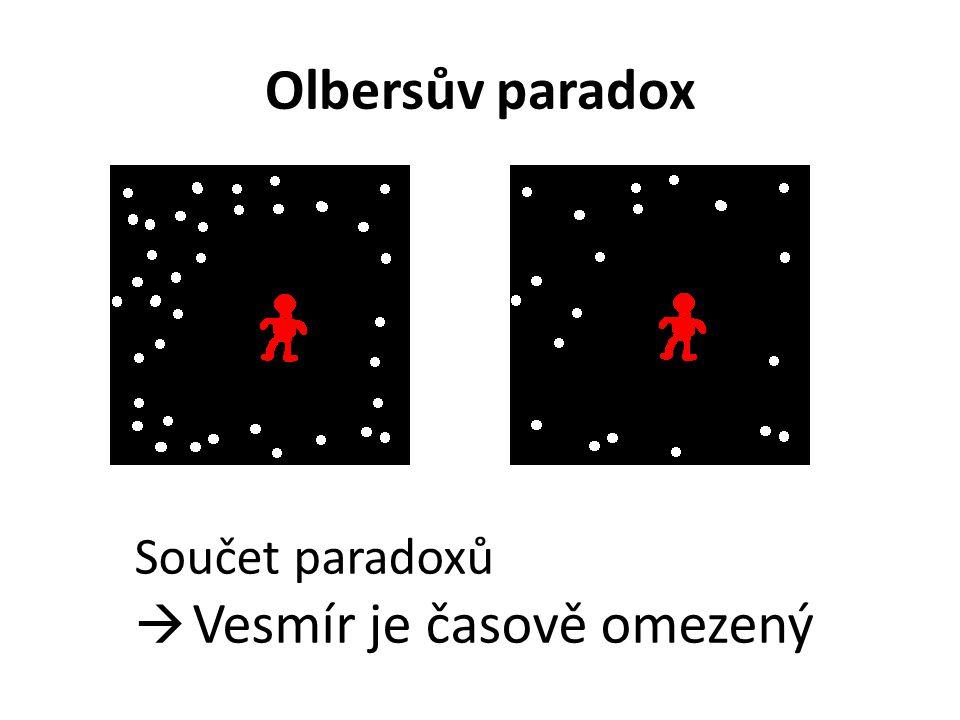 Olbersův paradox Součet paradoxů  Vesmír je časově omezený
