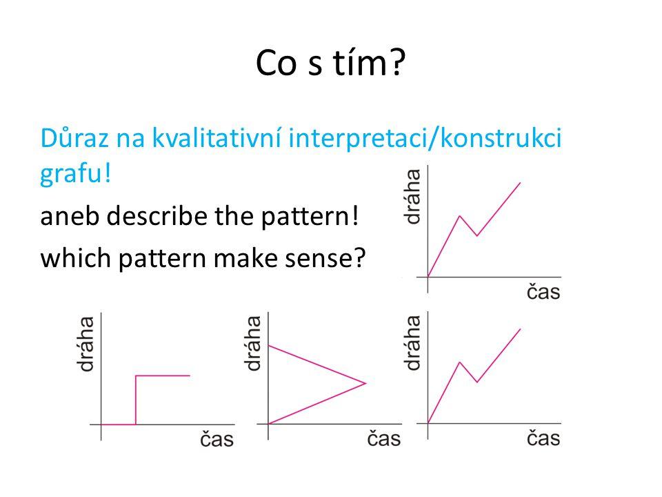 Co s tím Důraz na kvalitativní interpretaci/konstrukci grafu! aneb describe the pattern! which pattern make sense