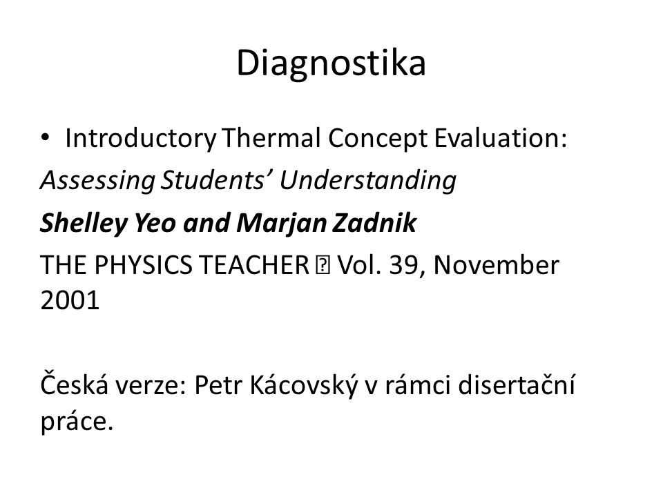 Diagnostika Introductory Thermal Concept Evaluation:
