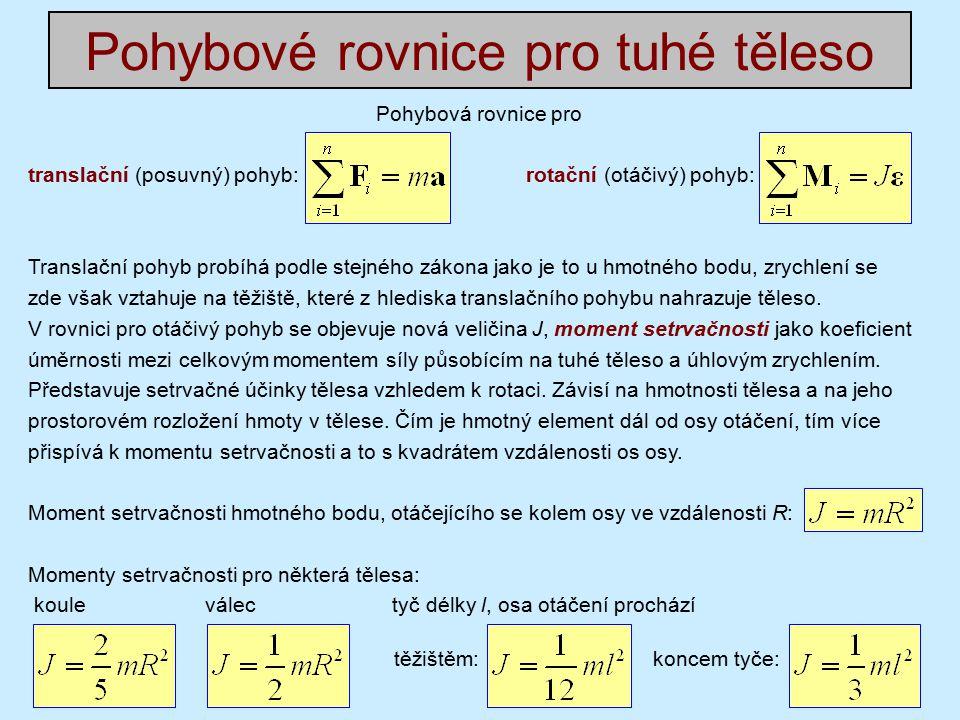 Pohybové rovnice pro tuhé těleso