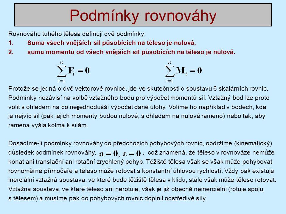 Podmínky rovnováhy Rovnováhu tuhého tělesa definují dvě podmínky: