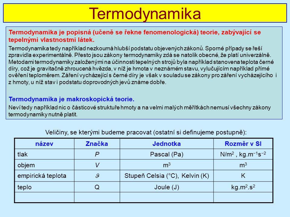 Termodynamika Termodynamika je popisná (učeně se řekne fenomenologická) teorie, zabývající se tepelnými vlastnostmi látek.