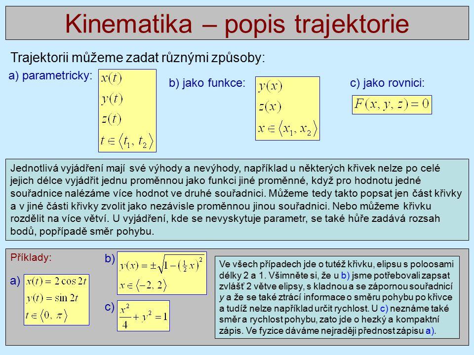 Kinematika – popis trajektorie