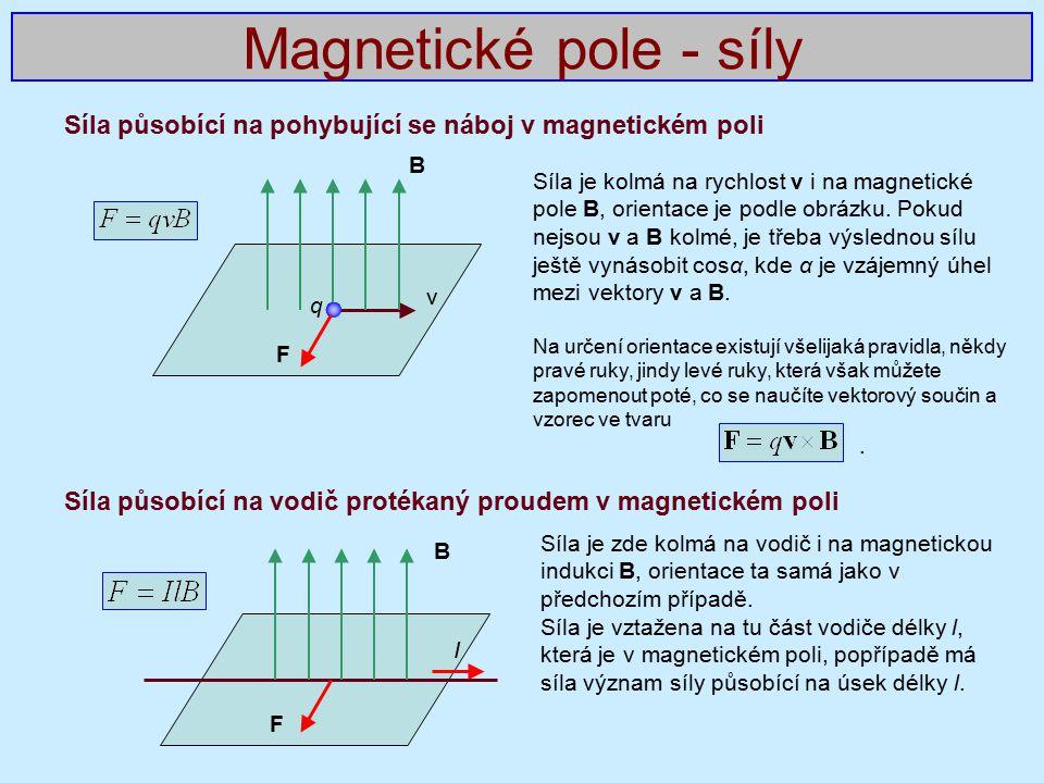 Magnetické pole - síly Síla působící na pohybující se náboj v magnetickém poli. Síla působící na vodič protékaný proudem v magnetickém poli.