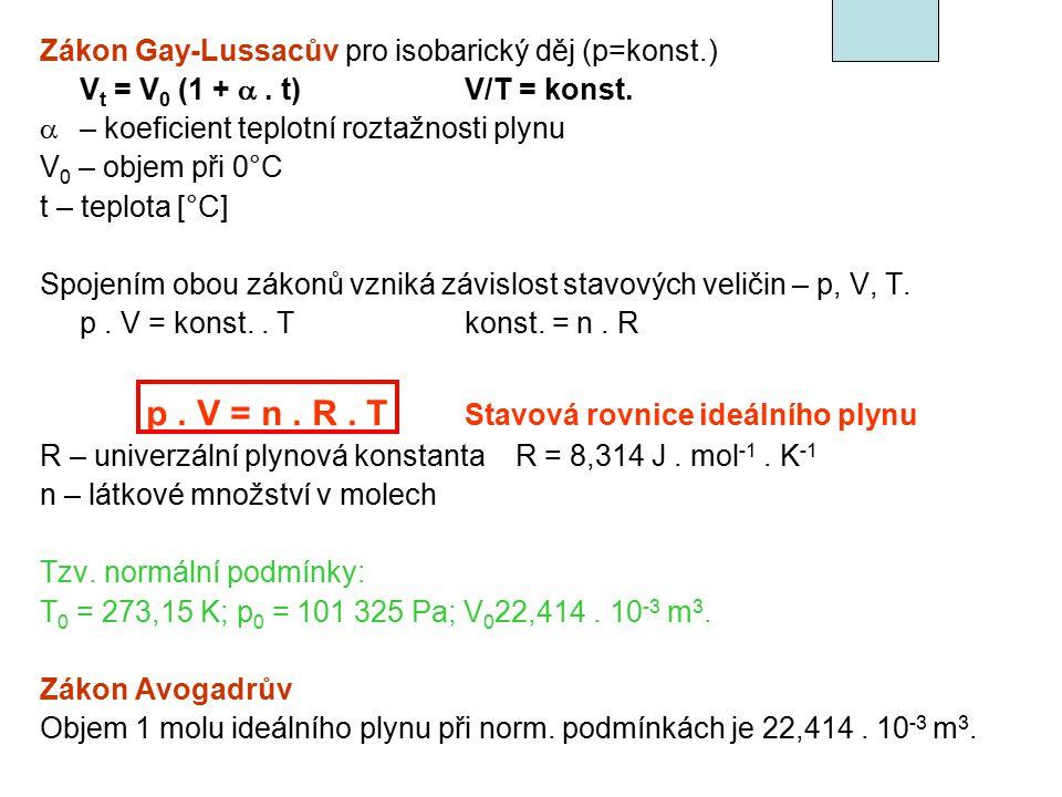 p . V = n . R . T Stavová rovnice ideálního plynu
