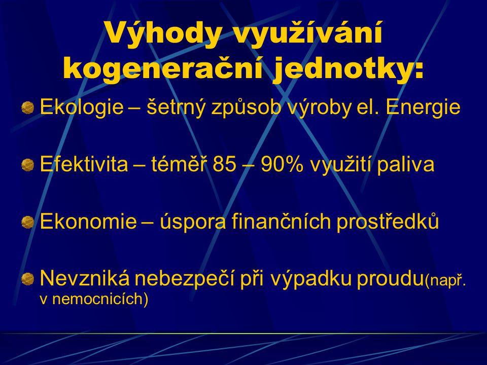 Výhody využívání kogenerační jednotky: