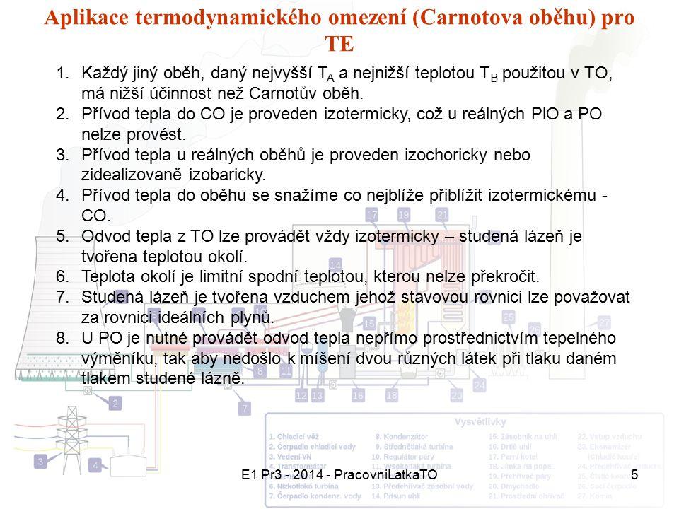Aplikace termodynamického omezení (Carnotova oběhu) pro TE