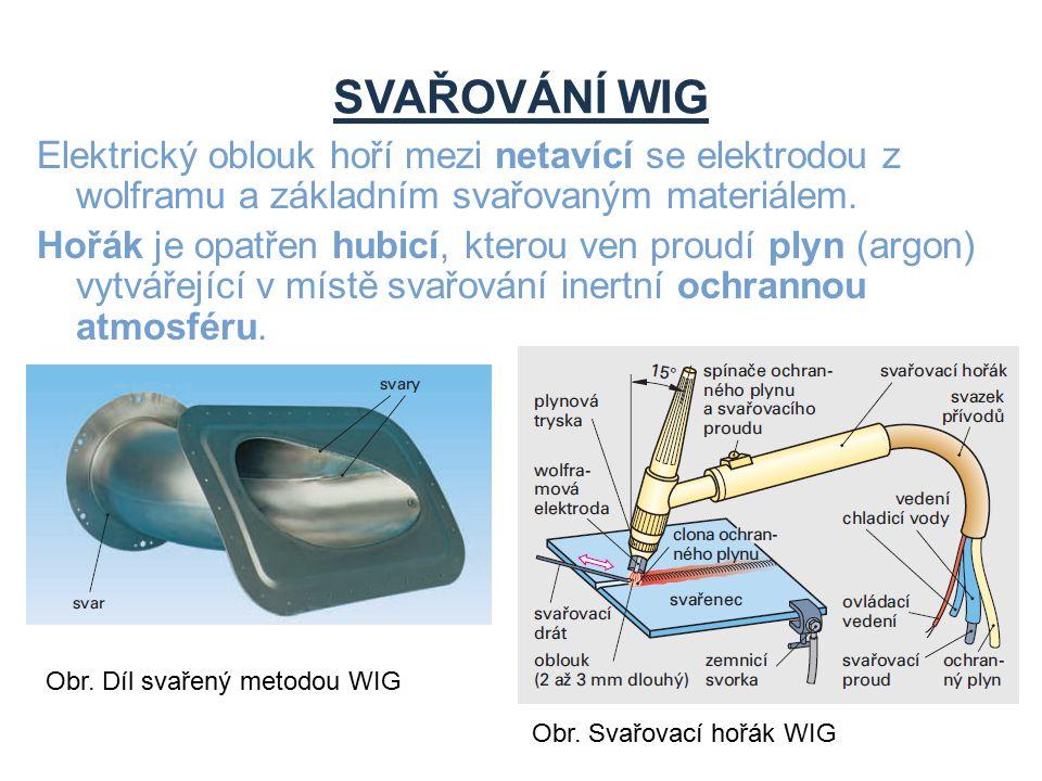 SVAŘOVÁNÍ WIG Elektrický oblouk hoří mezi netavící se elektrodou z wolframu a základním svařovaným materiálem.