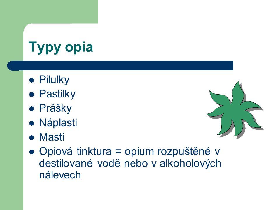 Typy opia Pilulky Pastilky Prášky Náplasti Masti
