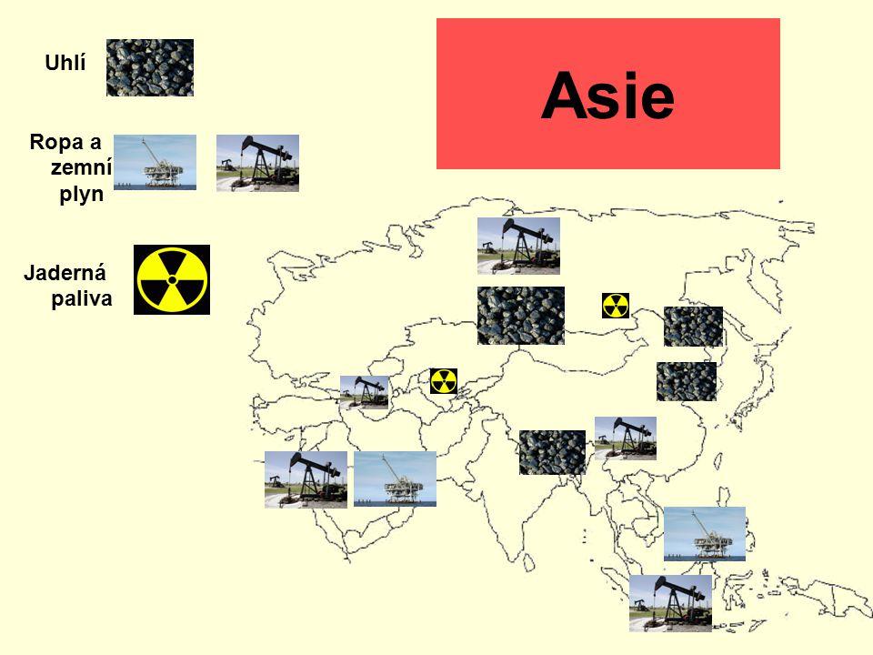 Uhlí Ropa a zemní plyn Jaderná paliva Asie