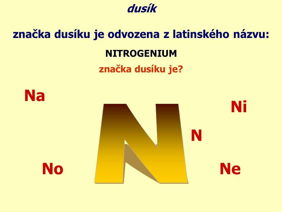 značka dusíku je odvozena z latinského názvu: