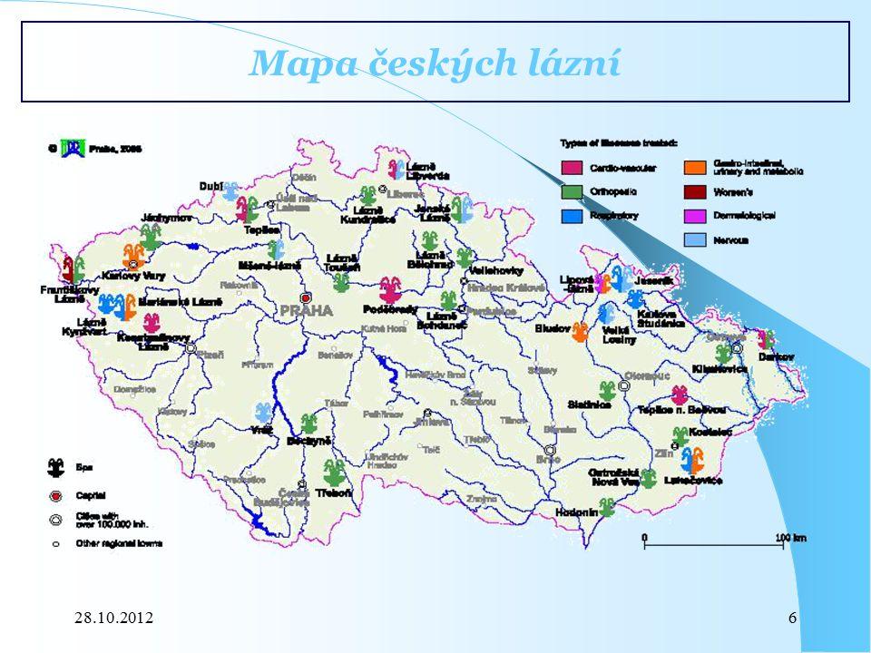 Mapa českých lázní 28.10.2012