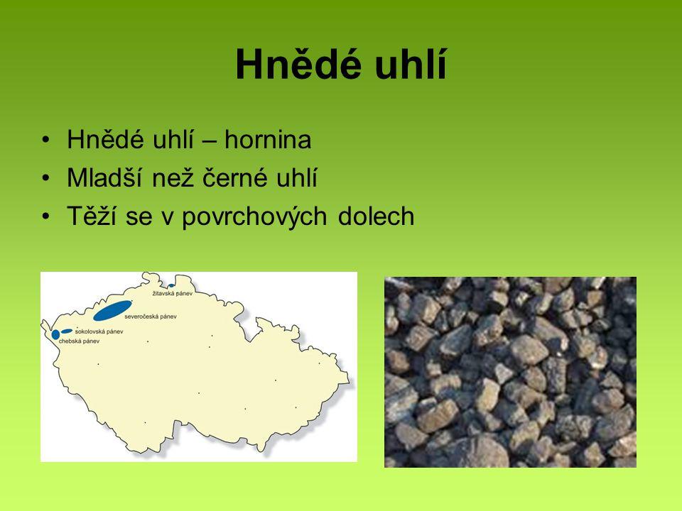 Hnědé uhlí Hnědé uhlí – hornina Mladší než černé uhlí